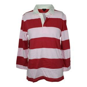 J.Crew Rugby Stripe Polo in Old Red & Pink NWT $60